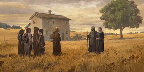 Pilgrims Approach a Farm Couple