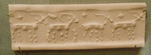 Cylinder Seal, Horned Animals (by Karen Barrett-Wilt, CC BY-NC-SA)