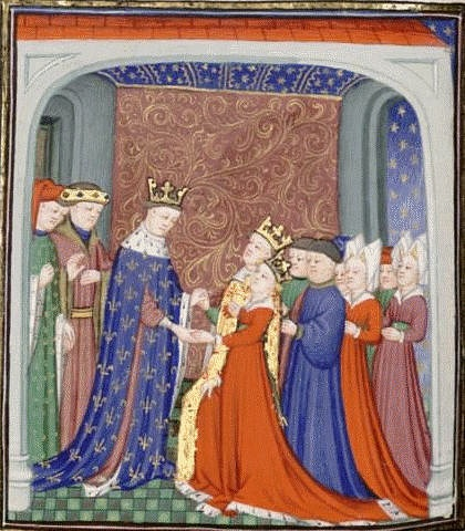 Philip VI of France with David II of Scotland and Queen Joan