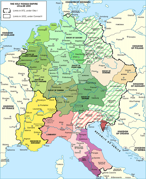 Otto the Great founded the Holy Roman Empire by combining the Kingdom of Germany (green) with the Kingdom of Italy (pink). Later,  Bohemia (brown) and Burgundy (yellow) were added.