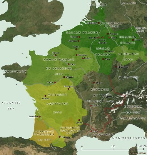 Map of the Frankish Kingdoms AD 481-511