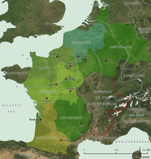 Map of the Frankish Kingdoms AD 511