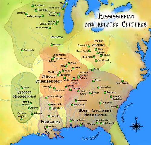 Map of Mississippian and Related Cultures