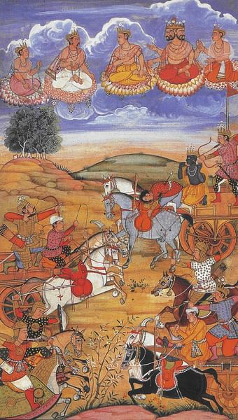 Arjuna During the Battle of Kurukshetra (by Unknown, Public Domain)