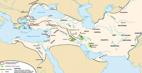 Achaemenid Empire Map (by Fabienkhan, CC BY-SA)
