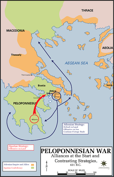 Map of the Peloponnesian War, Beginning