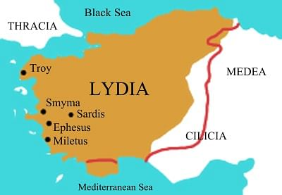 Map of Lydia
