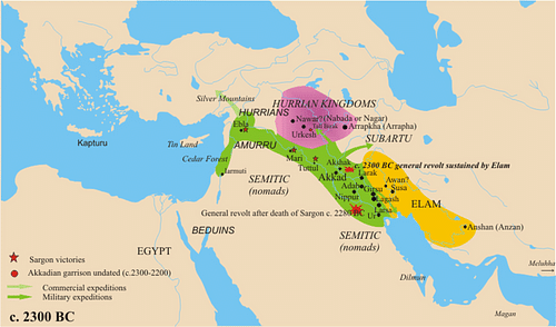 Map of the Akkadian Empire (by Nareklm, GNU FDL)