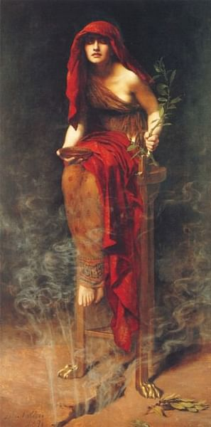 Pythia of the Oracle of Delphi (by John Collier, Public Domain)