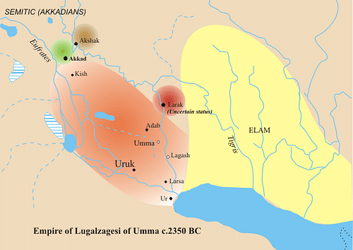Map of Lugalzagesi's Domains (by Zunkir, CC BY-SA)