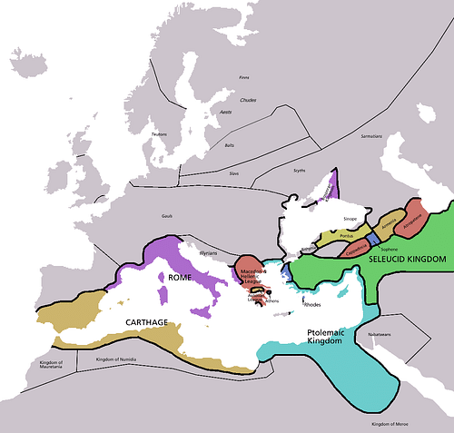 Map of Europe in 220 BC (by Astrokey44, CC BY-SA)