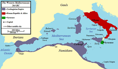 The Western Mediterranean 264 BCE (by Jon Platek, CC BY-SA)