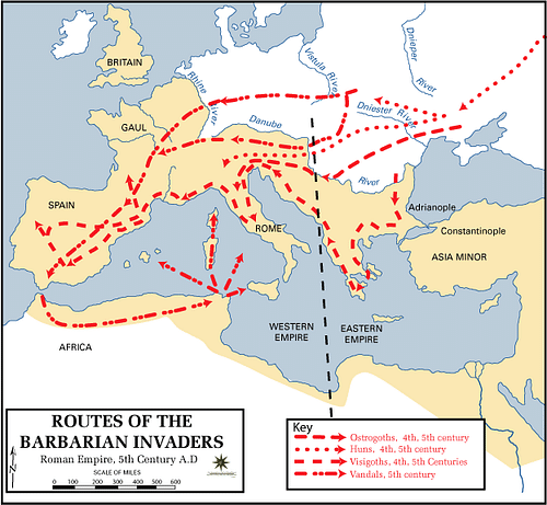Routes of the Barbarian Invaders (by The Department of History, United States Military Academy, Public Domain)
