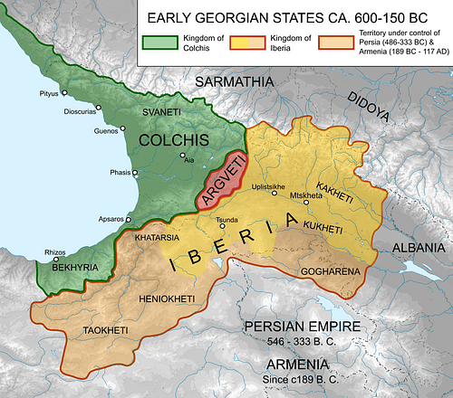 Map of Ancient Georgian States (600-150 BCE)