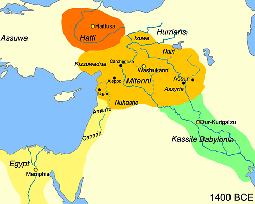 Map of Mesopotamia, c. 1400 BCE (by Javierfv1212, CC BY-SA)