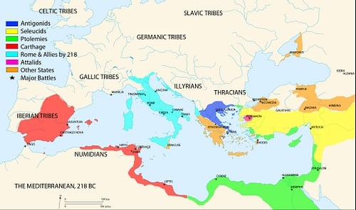 Map of the Mediterranean 218 BCE