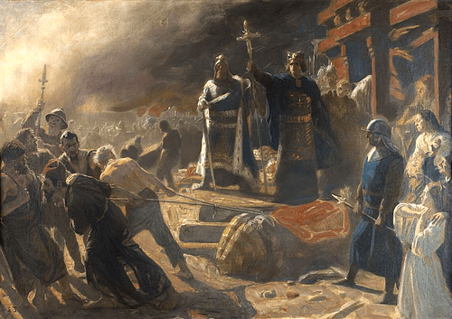 Bishop Absalon topples the god Svantevit at Arkona (by Laurits Tuxen)