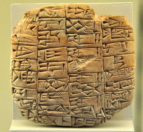 Clay tablet from the Archaic Buildings of  Ishtar Temple