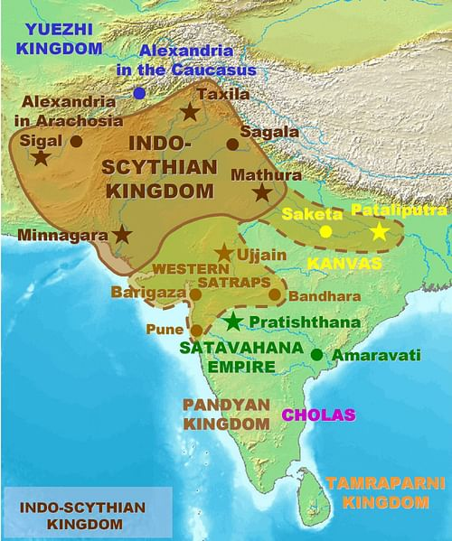 Ancient india ancient history encyclopedia map of the indo saka kingdoms by world imaging gumiabroncs Gallery