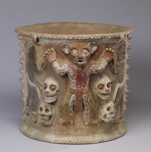 Maya Urn with Jaguar Figure & Skulls