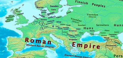 Map of Europe, 400 CE (by Thomas Lessman)