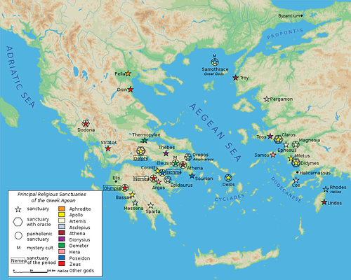 Map of Classical Greek Sanctuaries (by Marsyas)