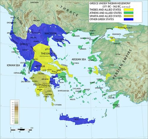 Map of Greece under Theban Hegemony