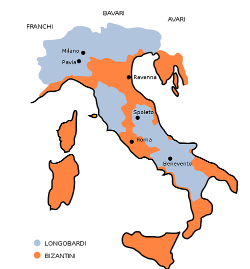 Map of Lombard Kingdom, 575 CE