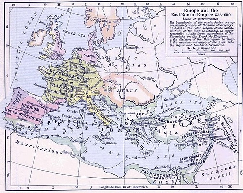East Roman Empire, 6th century CE (by William R. Shepherd)