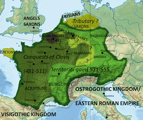 Frankish territory in 555