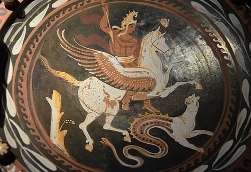 Bellerophon riding Pegasus and the Chimera