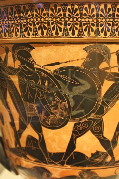 Black Figure Warrior Scene Illustration Ancient