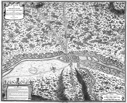 Map of Lutetia (by Jean-Baptiste Bourguignon d'Anville)