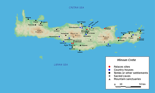 Map of Minoan Crete