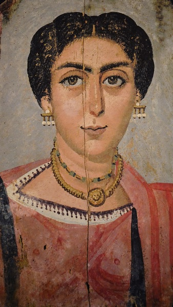 Mummy Portrait of a Woman Wearing a Medusa Necklace