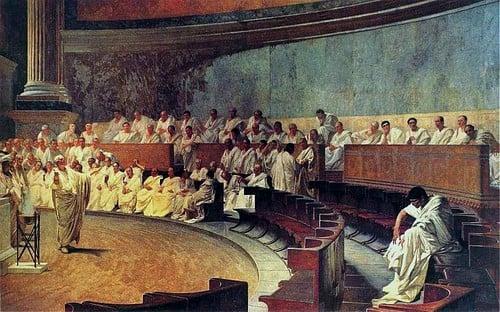 Cicero Denounces Catiline (by Cesare Macari, Public Domain)