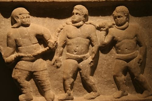 Detail, Roman Slaves Relief Slab