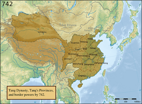 Tang Dynasty Provinces c. 742 CE