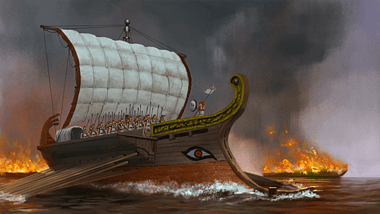 Greek Trireme in Battle