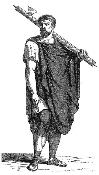 Roman Lictor Carrying Fasces (by Cesare Vercellio, Public Domain)