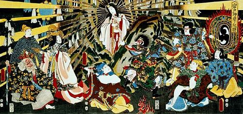 Amaterasu Emerging From Exile (by Utagawa Toyokuni III, Public Domain)