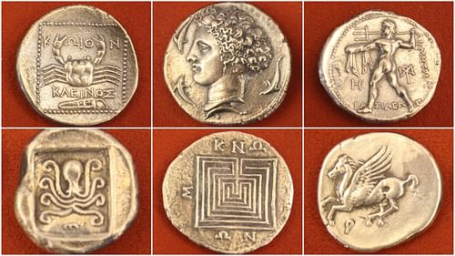 photo regarding Large Printable Coins titled Historical Greek Coinage - Historic Background Encyclopedia