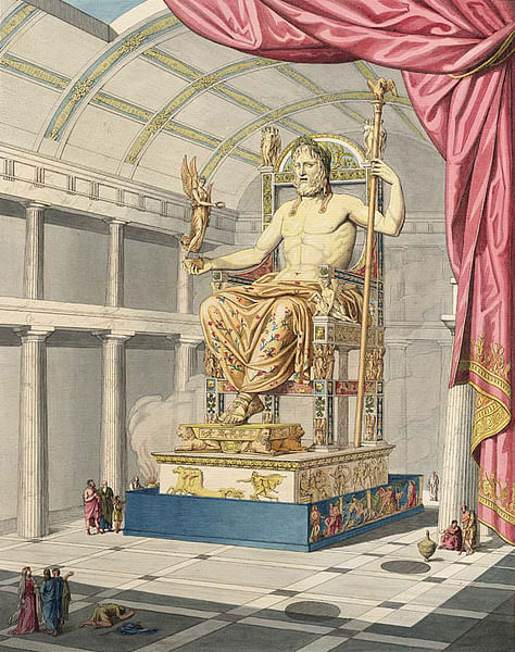 Statue of Zeus, Olympia (by de Quincy, Public Domain)
