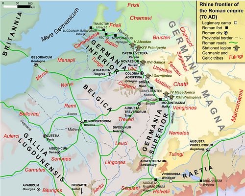 Map of the Rhine frontier of the Roman empire, 70AD