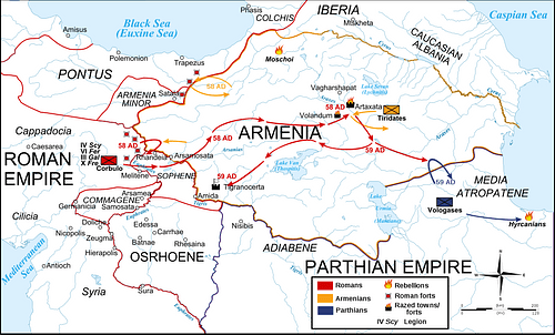 Map Roman-Parthian War, 58-60 CE