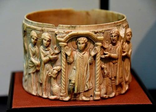 Ivory Pyxis Depicting Saint Menas