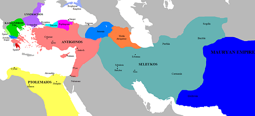 Map of the Successor Kingdoms, c. 303 BCE (by Javierfv1212, Public Domain)