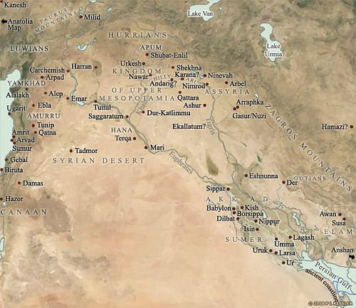 Map of Mesopotamia, 2000-1600 BC