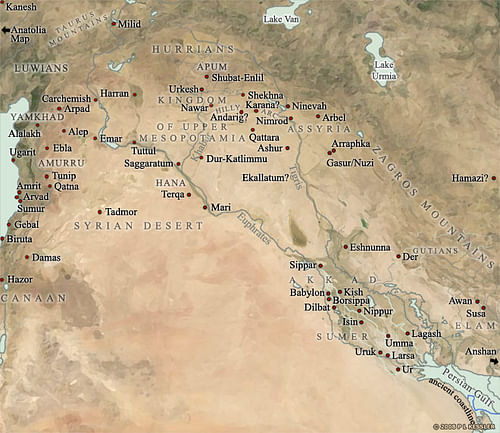 Map of Mesopotamia, 2000-1600 BCE