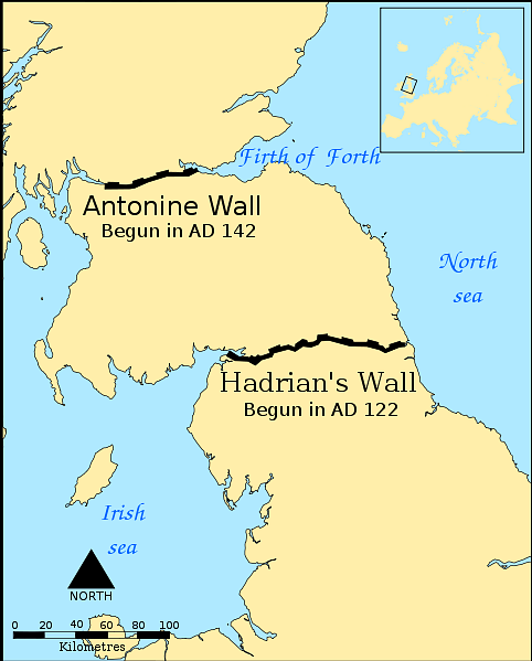 Map Indicating the Antonine & Hadrian Walls
